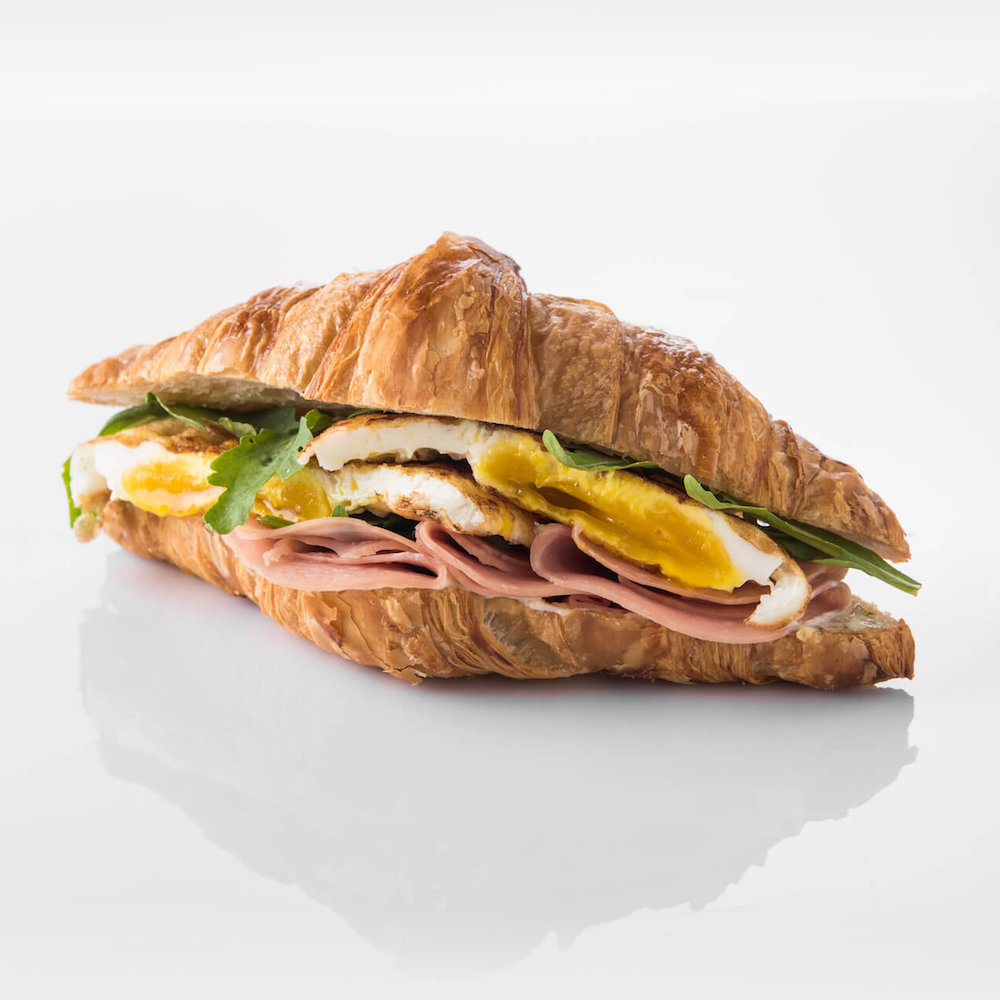 Breakfast - classic croissant or English muffin sandwich
